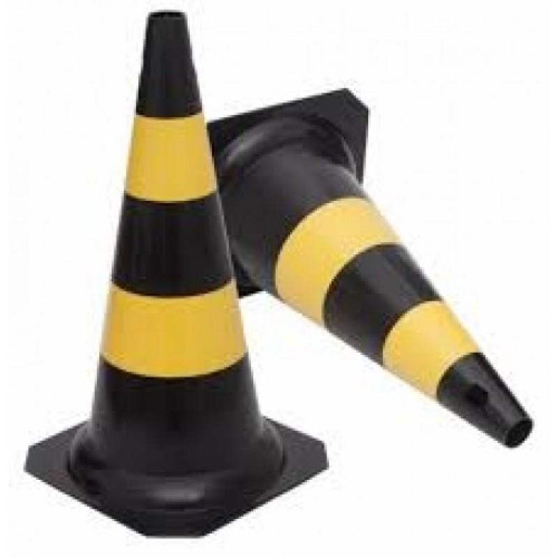 Cone 50cm PVC Preto e Amarelo