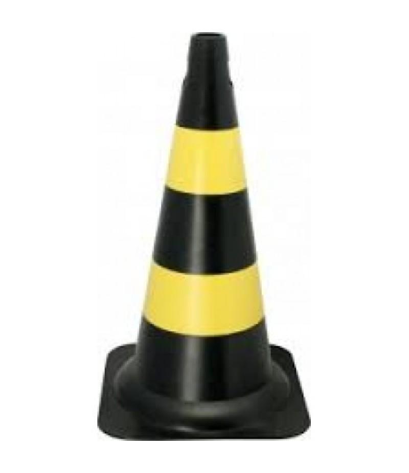 Cone 75cm PVC Preto e Amarelo
