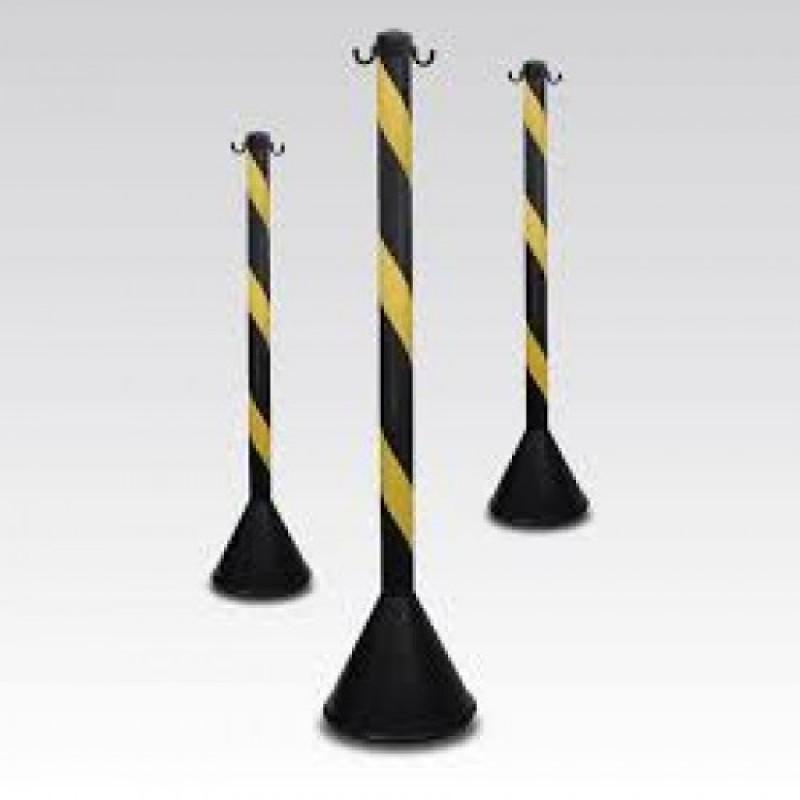 Pedestal de Sinalização Preto e Amarelo